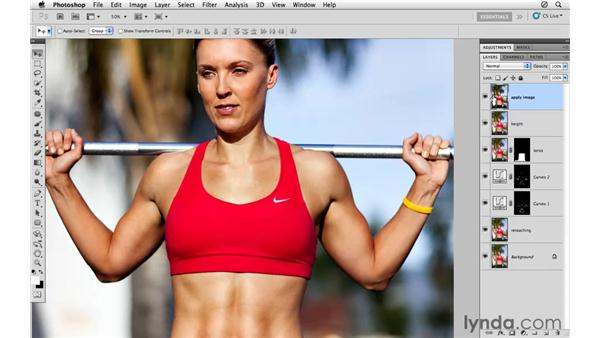 Applying midtone contrast and sharpening: Photoshop CS5: Athletic Retouching Projects