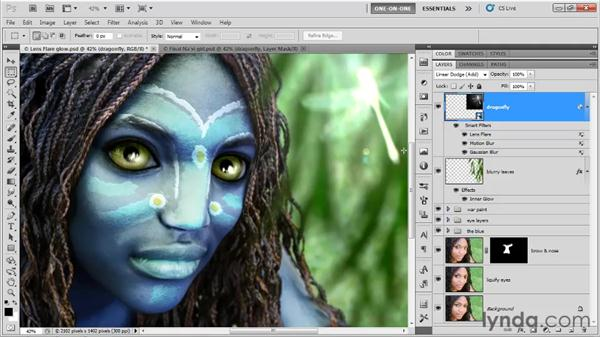 Blending and masking a glow: Photoshop CS5 One-on-One: Mastery