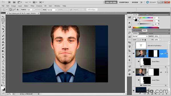 Flipping a Smart Object and its mask: Photoshop CS5 One-on-One: Mastery