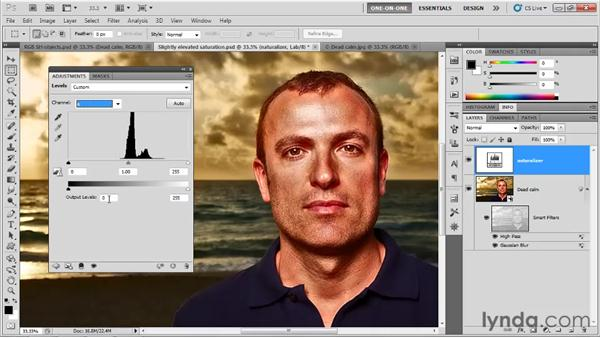Tempering saturation values in Lab: Photoshop CS5 One-on-One: Mastery