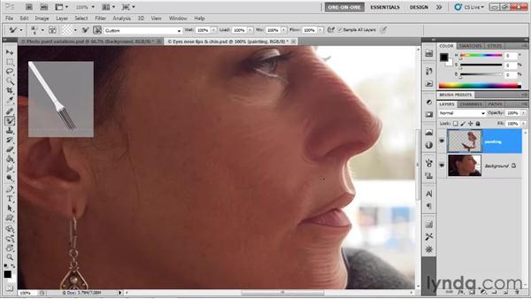 Crosshatching and brush size: Photoshop CS5 One-on-One: Mastery
