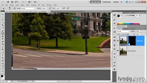 Masking auto-aligned layers: Photoshop CS5 One-on-One: Mastery