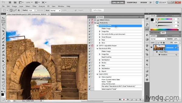 Batching two actions into one: Photoshop CS5 One-on-One: Mastery