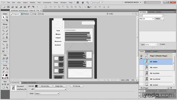 Planning a wireframe: Fireworks CS5: Rapid Prototyping