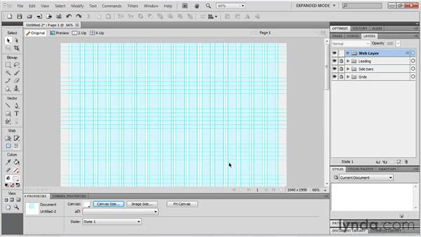 Using document templates for wireframing: Fireworks CS5: Rapid Prototyping