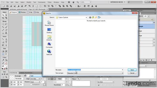 Creating custom wireframe symbols: Fireworks CS5: Rapid Prototyping