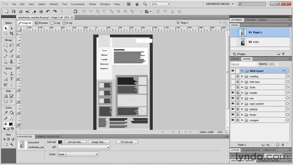 Adding a master page and subpages : Fireworks CS5: Rapid Prototyping