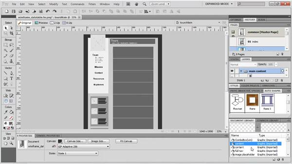 Adding a data table: Fireworks CS5: Rapid Prototyping