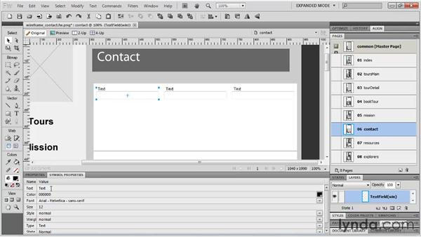 Building a contact form: Fireworks CS5: Rapid Prototyping