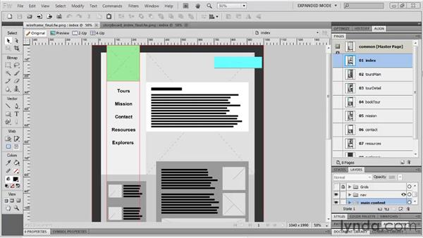 Making a wireframe realistic: Fireworks CS5: Rapid Prototyping