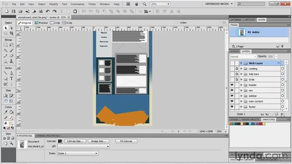 Importing graphics into the storyboard : Fireworks CS5: Rapid Prototyping