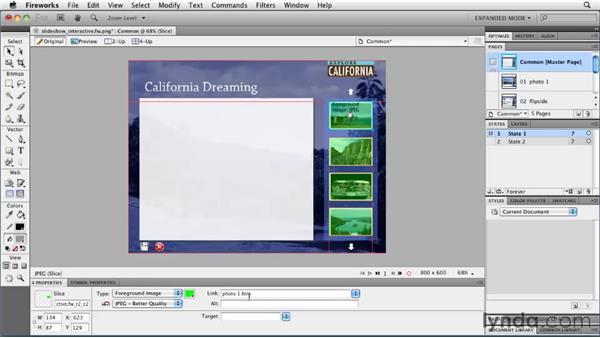 Adding rollovers: Fireworks CS5: Rapid Prototyping