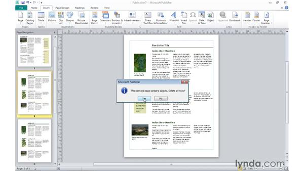 Inserting pages and navigating them: Publisher 2010 Essential Training