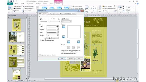 Changing fill and line attributes: Publisher 2010 Essential Training