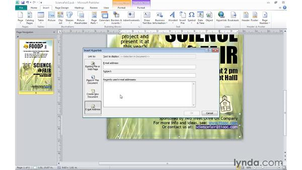 Inserting hyperlinks: Publisher 2010 Essential Training