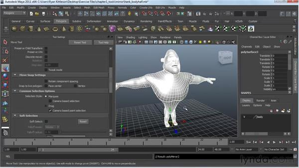 Working symmetrically: Modeling a Character in Maya