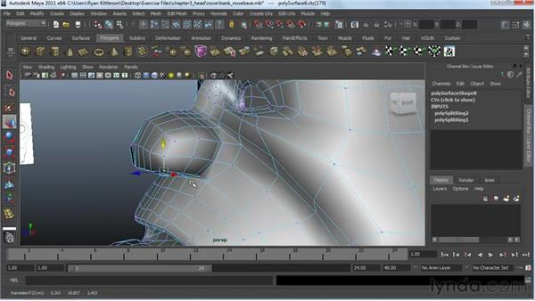 Building the nose : Modeling a Character in Maya