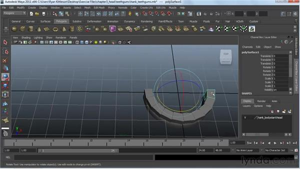 Making the teeth and gums: Modeling a Character in Maya