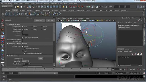 Drawing the NURBS curves for hair: Modeling a Character in Maya