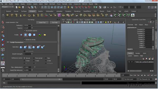 Sculpting the polygonal hair clumps: Modeling a Character in Maya