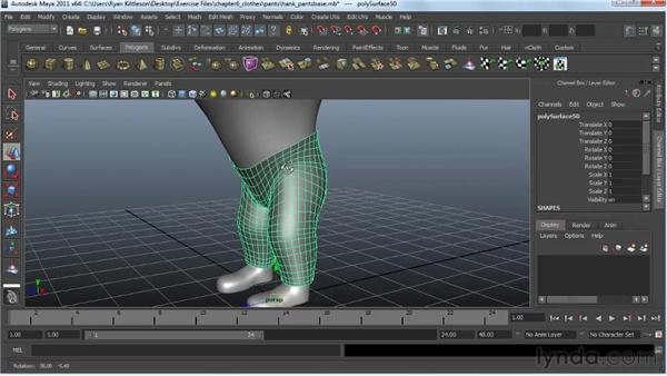 Modeling the pants: Modeling a Character in Maya