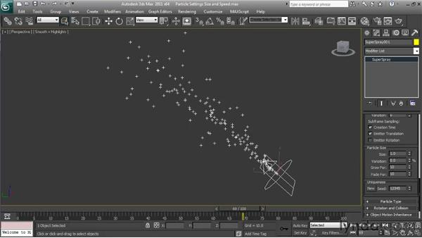 Adjusting particle size and speed: Particle Effects in 3ds Max