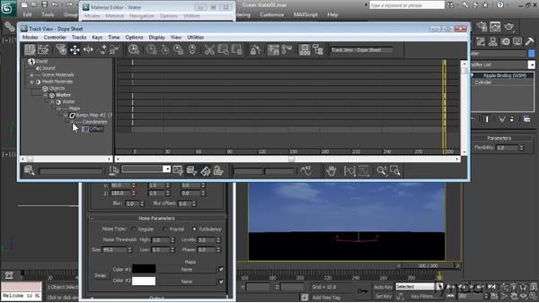 Creating the animated material for the water: Particle Effects in 3ds Max