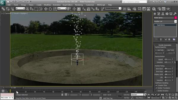 Creating Super Spray water particles: Particle Effects in 3ds Max