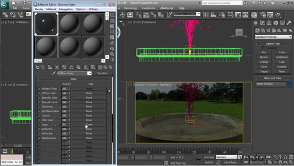 Creating the fountain water material: Particle Effects in 3ds Max