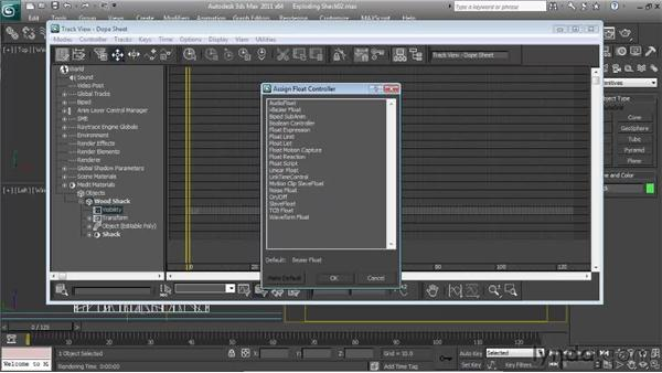 Setting up the shack's visibility track: Particle Effects in 3ds Max