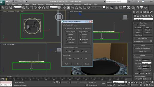 Creating and positioning the particle flow system: Particle Effects in 3ds Max