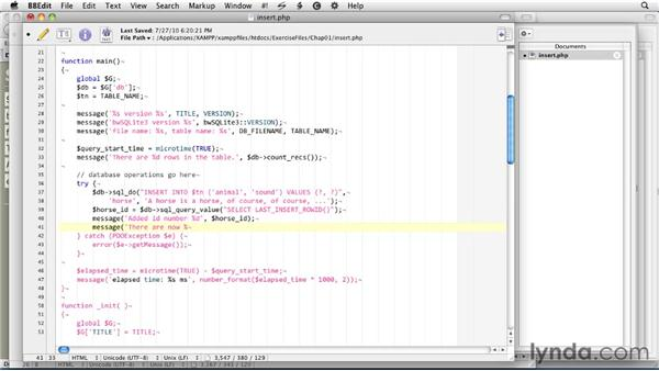 Inserting data into a table: SQLite 3 with PHP Essential Training
