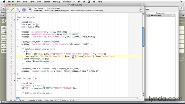 Getting data from a table : SQLite 3 with PHP Essential Training