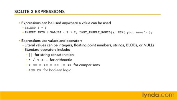 Understanding expressions in SQLite: SQLite 3 with PHP Essential Training