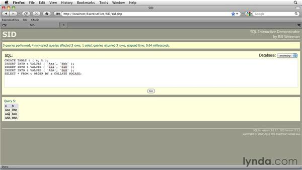 Changing case with UPPER and LOWER: SQLite 3 with PHP Essential Training