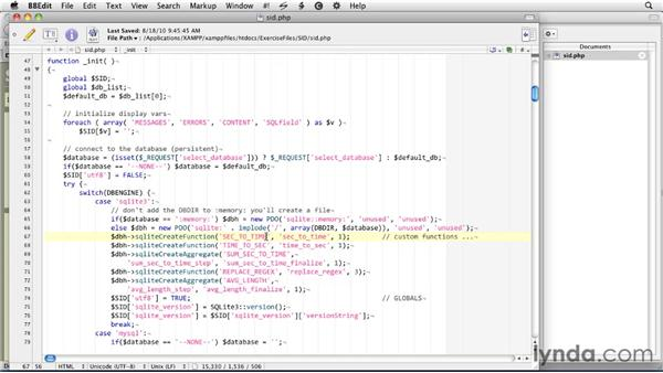 Creating user-defined functions: SQLite 3 with PHP Essential Training