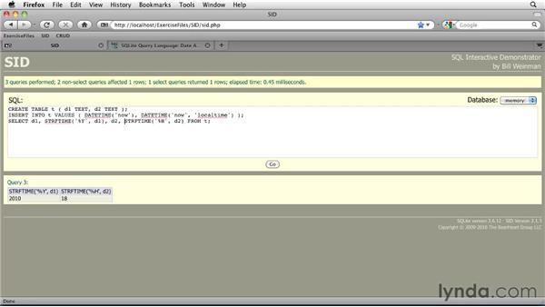 Formatting dates and times with STRFTIME: SQLite 3 with PHP Essential Training