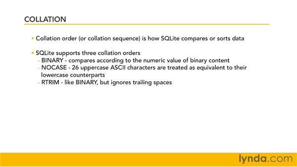 Understanding collation: SQLite 3 with PHP Essential Training