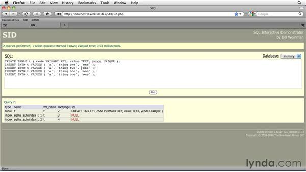 Working with primary key indexes: SQLite 3 with PHP Essential Training