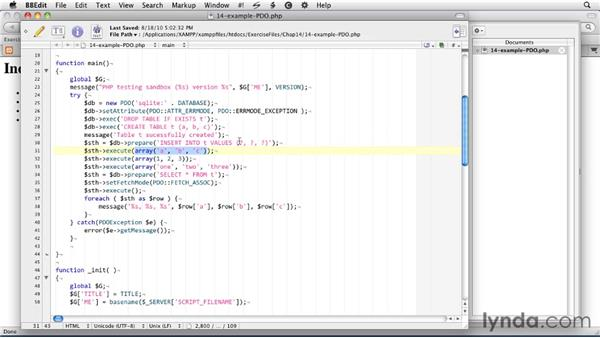 Using the PDO interface: SQLite 3 with PHP Essential Training