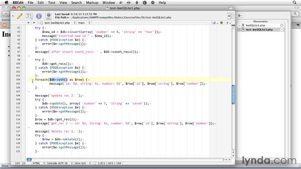 Creating a library: SQLite 3 with PHP Essential Training