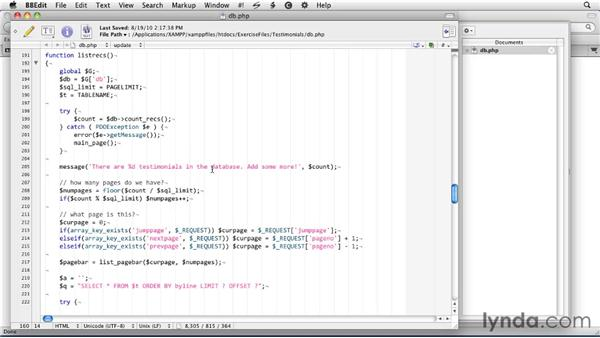 Managing the database in PHP: SQLite 3 with PHP Essential Training