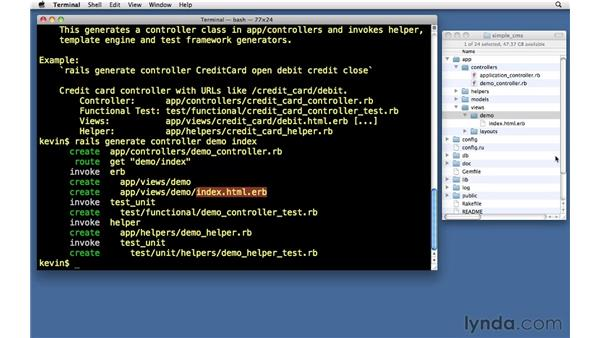 Generating a controller and view: Ruby on Rails 3 Essential Training