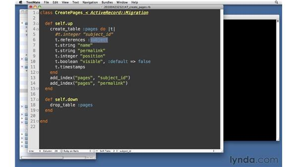 Migration exercise solution: Ruby on Rails 3 Essential Training