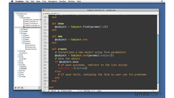 Create action: Create: Ruby on Rails 3 Essential Training