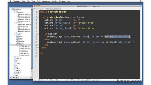 Custom helpers: Ruby on Rails 3 Essential Training