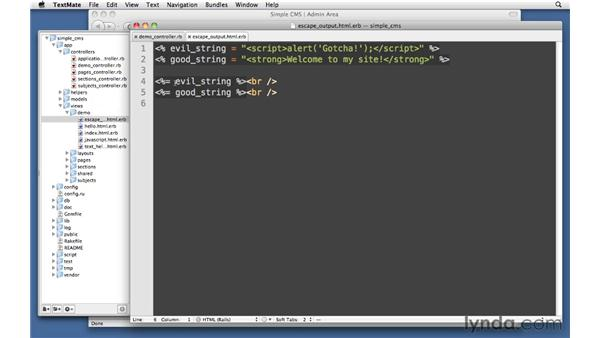 Escaping output: Ruby on Rails 3 Essential Training