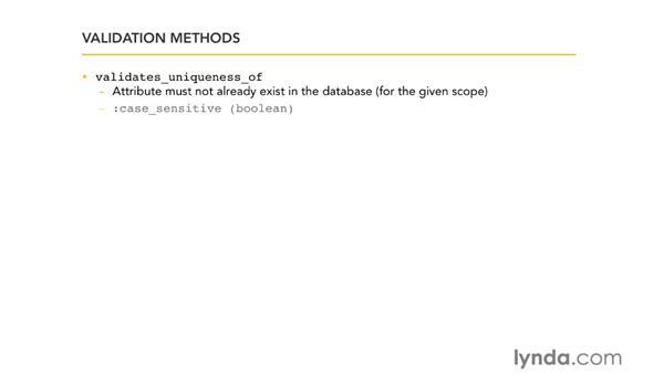 Validation methods: Ruby on Rails 3 Essential Training