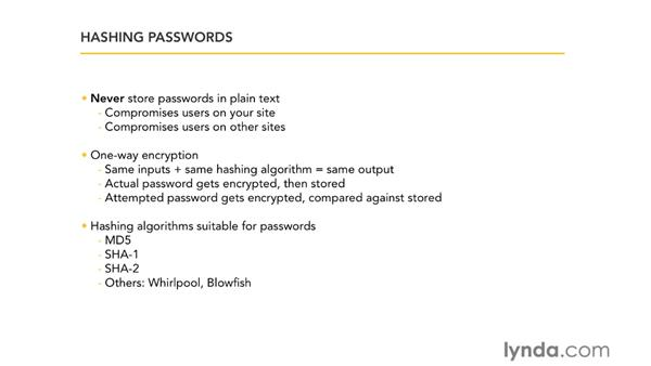 Hashing passwords: Ruby on Rails 3 Essential Training