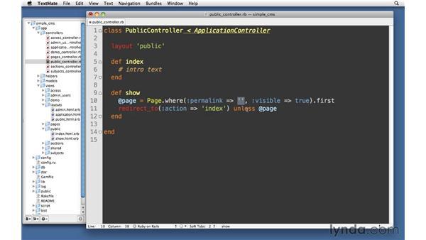 Public area: Ruby on Rails 3 Essential Training